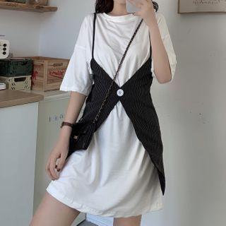 Dreamkura(ドリームクラ) - Set: Elbow-Sleeve Plain T-Shirt + Spaghetti Strap Striped Mini Jumper Dress
