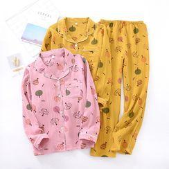 Somnus - 家居服套裝: 樹木印花襯衫 + 褲