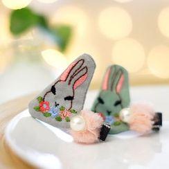 Rosemarie - Kids Embroidered Rabbit Hair Clip