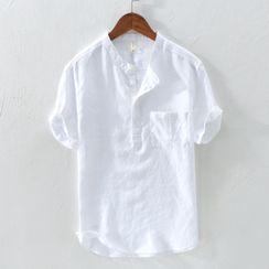 Ninine - Plain Half-Button Short-Sleeve Linen Shirt