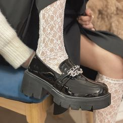 Queen Zoo - 链条厚底粗跟乐福鞋