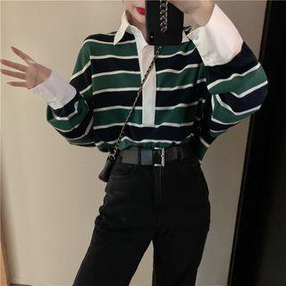 LINSI - Long-Sleeve Striped Polo Shirt