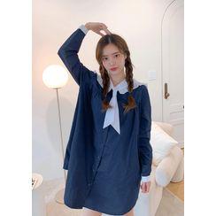chuu - [Disney] MINNIE Embroidery Pajama Dress
