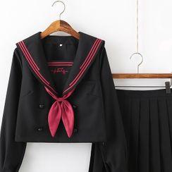 Nanachan - 水手领衬衫 / 开衫 / 褶裥裙 / 套装