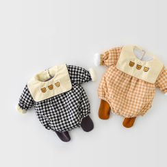 Cen2ury - Baby Long-Sleeve Bear Embroidered Checked Bodysuit