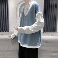 ChouxChic - Long-Sleeve Mock Two Piece T-Shirt
