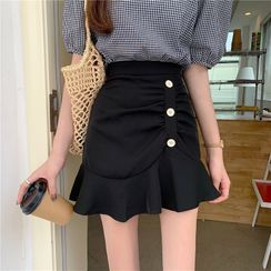 Shinsei - High-Waist Shirred Ruffle Hem Mini A-Line Skirt