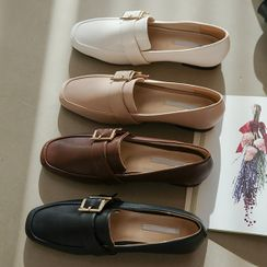 JUSTONE - Square-Toe Buckled Loafers