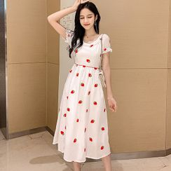 NUBE - Short-Sleeve Strawberry Embroidery Midi A-Line Dress