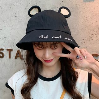 FROME - Mouse Ear Embroidered Bucket Hat