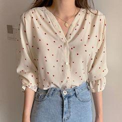 Rocho - 心心印花喇叭袖雪纺衬衫