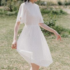 Waltzer - Short-Sleeve Lace A-Line Dress