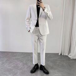 Hawoo - Set: Single-Breasted Blazer + Dress Pants