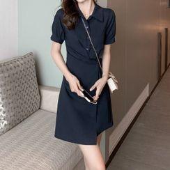 Butterfly Dorm - Short-Sleeve Mini A-Line Shirt Dress