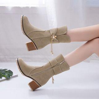 佳美 - 仿珍珠粗跟短靴