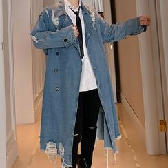 ANCHO - Distressed Double-Breasted Long Denim Jacket