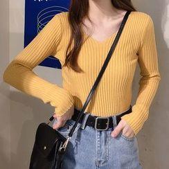 Shinsei - V-Neck Rib Knit Top