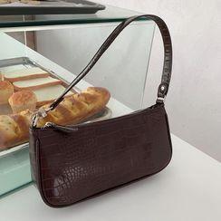 TZ - Croc Grain Faux Leather Shoulder Bag