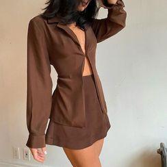 Ellofynt - Set: Long Sleeve V-Neck Shirt + Mini Skirt