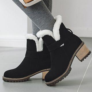 Cinnabelle - 粗跟羊毛内衬脚踝雪靴