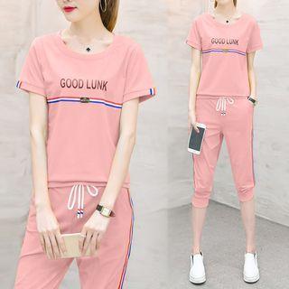 Ashlee - 套裝: 短袖T恤 + 七分運動褲