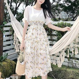 Hazie - Mock Two-Piece Short-Sleeve Midi A-Line Dress