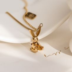 MOMENT OF LOVE - Rabbit Pendant Stainless Steel Necklace