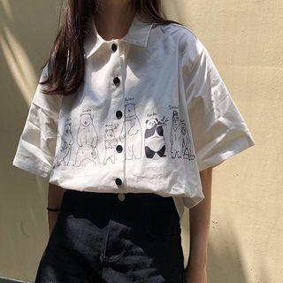 Moon City - Bear Printed Short-Sleeve Button-Up Shirt