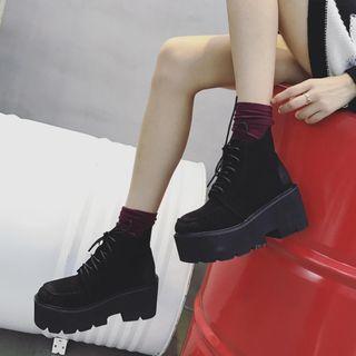 Anran - Platform Lace-Up Ankle Boots