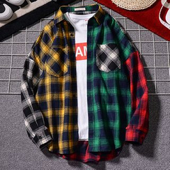 Rampo - Color Block Plaid Shirt