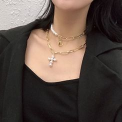 ALBIMO - Set: Faux Pearl Cross Pendant Necklace + Choker