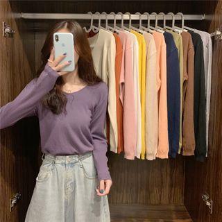 Guajillo - Plain Long-Sleeve Knit Top