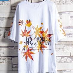 Soinku - Short-Sleeve Leaves Print Lettering T-Shirt