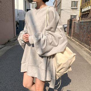 MERONGSHOP - Dip-Back Oversized Mini Sweatshirt Dress