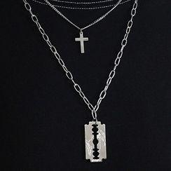 Tinseltown - Razor Blade Cross Pendant Layered Necklace