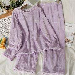 Lemongrass - Pajama Set: Loose-Fit Furry Top + Pants in 6 Colors