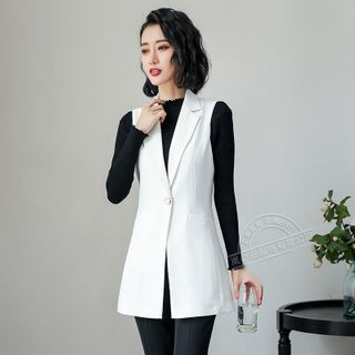 Skyheart - Single-Breasted Vest / Straight-Leg Dress Pants / Set