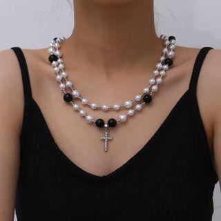 Seirios - Rhinestone Cross Pendant Faux Pearl Layered Necklace