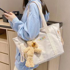 EAVALURE - Set: Lettering Nylon Carryall Bag + Bag Charm + Brooch