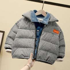 Ouron - Kids Mock Two-Piece Plaid Padded Zip Jacket