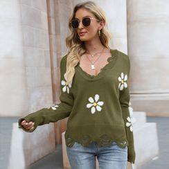 Fireok - Flower Print Distressed Sweater