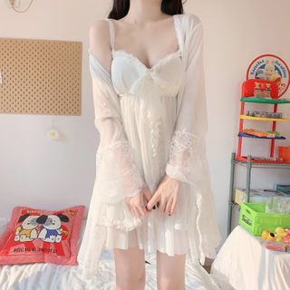 Sisyphi - Spaghetti Strap Chiffon Sleep Dress / Robe