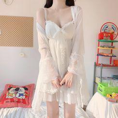 Sisyphi - Spaghetti Strap Chiffon Sleep Dress / Robe