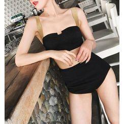 Silverus - 套装: 配色带比基尼泳衣上衣 + 高腰下装