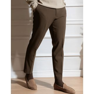 STYLEMAN - Band-Waist Napped Straight-Cut Dress Pants