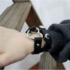 SURELIN - 心心圈環仿皮貼脖項鏈 / 手鏈