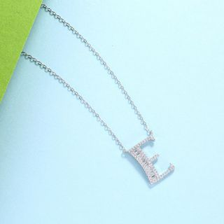 BELEC - 925 Sterling Silver Fashion Personality English Alphabet E Cubic Zircon Necklace