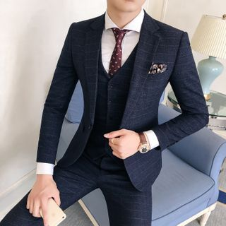 Hawoo - Suit Set: Plaid Blazer + Vest + Dress Pants