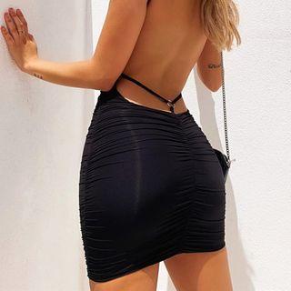 Bulgaris - Open-back V-Neck Mini Bodycon Dress