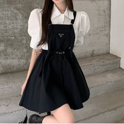Amanee - Puff-Sleeve Plain Shirt / Mini Overall Dress